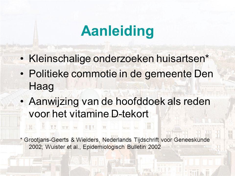 Aanleiding Kleinschalige onderzoeken huisartsen* Politieke commotie in de gemeente Den Haag Aanwijzing van de hoofddoek als reden voor het vitamine D-