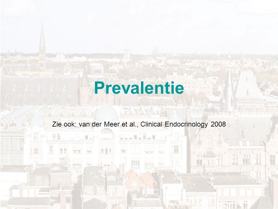 Prevalentie Etnische groep (n) % < 25 nmol/l Nederlands (102) 6 Turks (121)41 Marokkaans (96)37 Hindostaans (107)51 Creools (75)45 Sub-Sahara Afrikaans (57)19 Overig (55)29