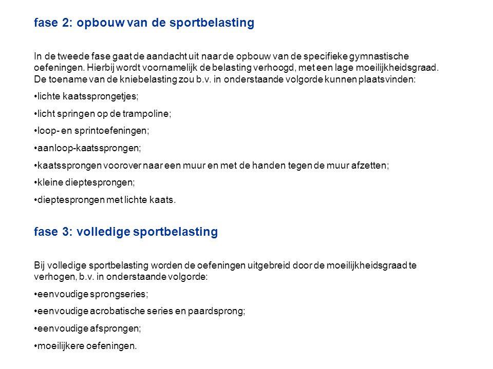 fase 2: opbouw van de sportbelasting In de tweede fase gaat de aandacht uit naar de opbouw van de specifieke gymnastische oefeningen. Hierbij wordt vo
