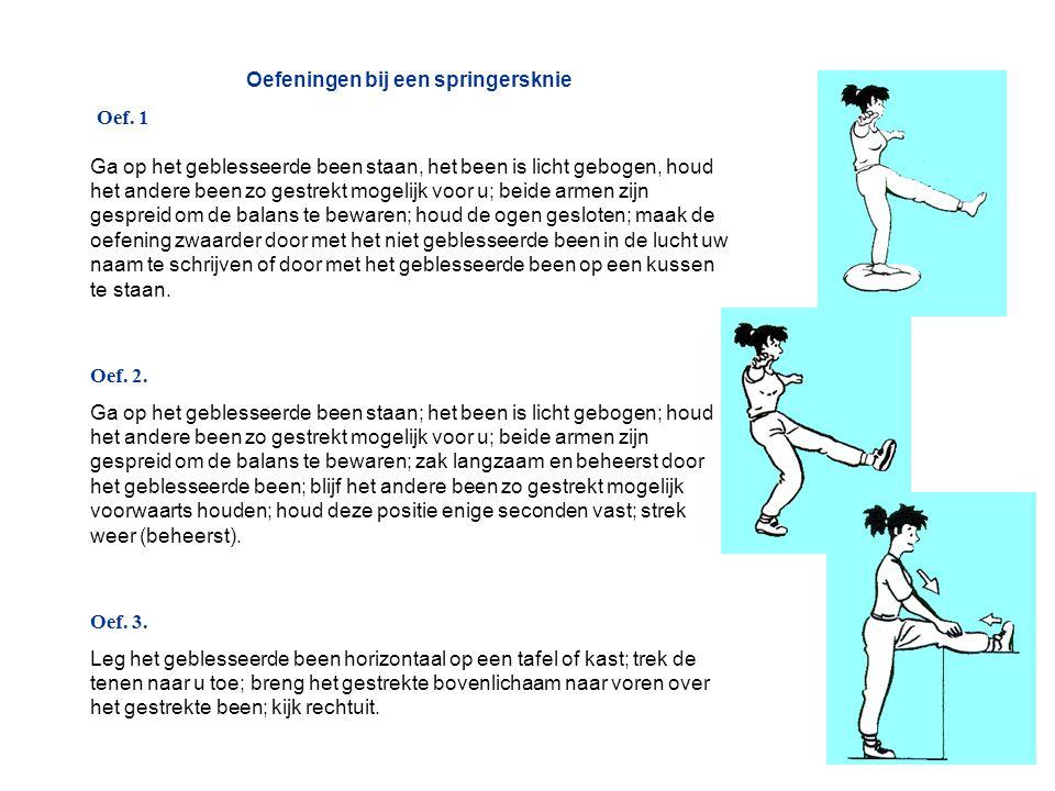 Oefeningen bij een springersknie Oef. 1 Ga op het geblesseerde been staan, het been is licht gebogen, houd het andere been zo gestrekt mogelijk voor u
