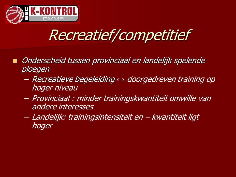 Recreatief/competitief Onderscheid tussen provinciaal en landelijk spelende ploegen Onderscheid tussen provinciaal en landelijk spelende ploegen –Recr