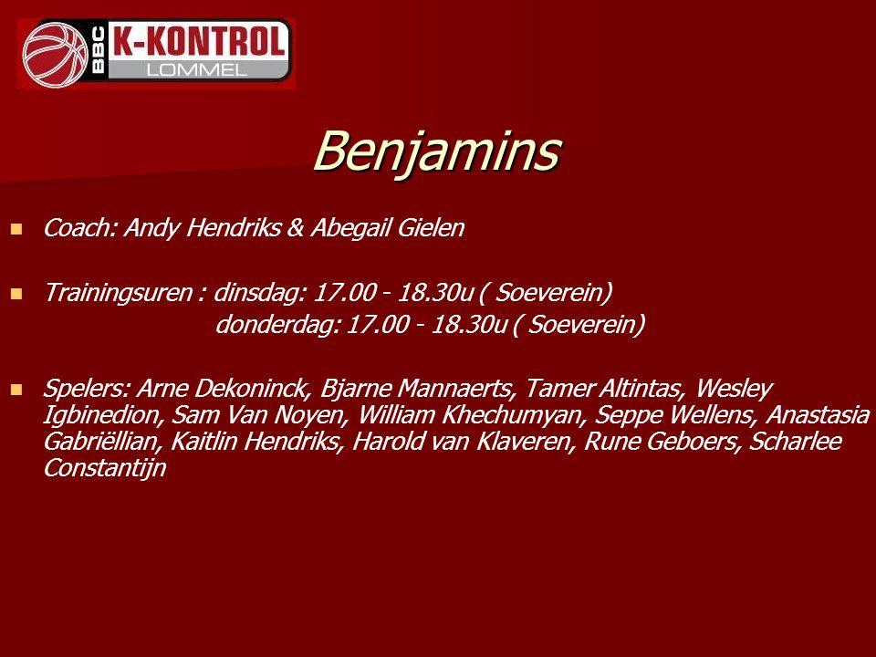 Benjamins Coach: Andy Hendriks & Abegail Gielen Trainingsuren : dinsdag: 17.00 - 18.30u ( Soeverein) donderdag: 17.00 - 18.30u ( Soeverein) Spelers: A