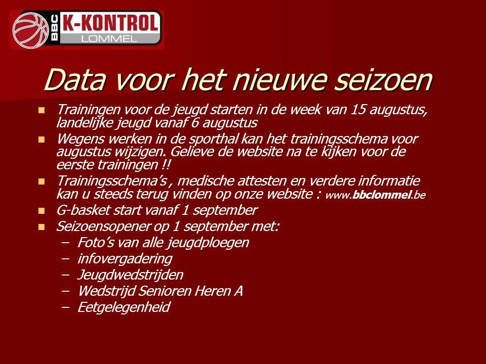 Data voor het nieuwe seizoen Trainingen voor de jeugd starten in de week van 15 augustus, landelijke jeugd vanaf 6 augustus Wegens werken in de sporth