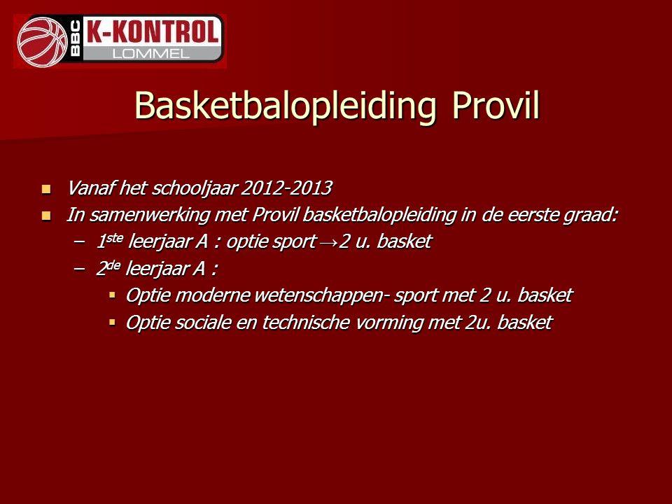 Basketbalopleiding Provil Vanaf het schooljaar 2012-2013 Vanaf het schooljaar 2012-2013 In samenwerking met Provil basketbalopleiding in de eerste gra