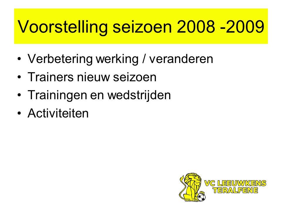 Voorstelling seizoen 2008 -2009 Verbetering werking / veranderen Trainers nieuw seizoen Trainingen en wedstrijden Activiteiten
