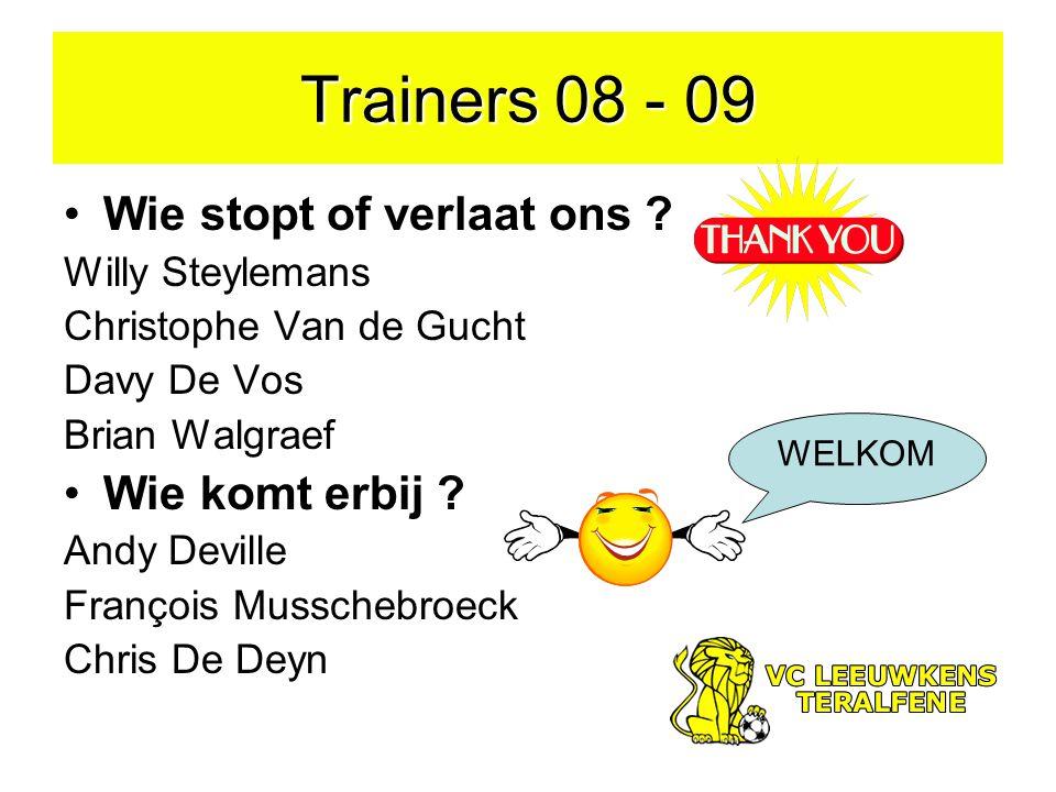 Trainers 08 - 09 Wie stopt of verlaat ons .