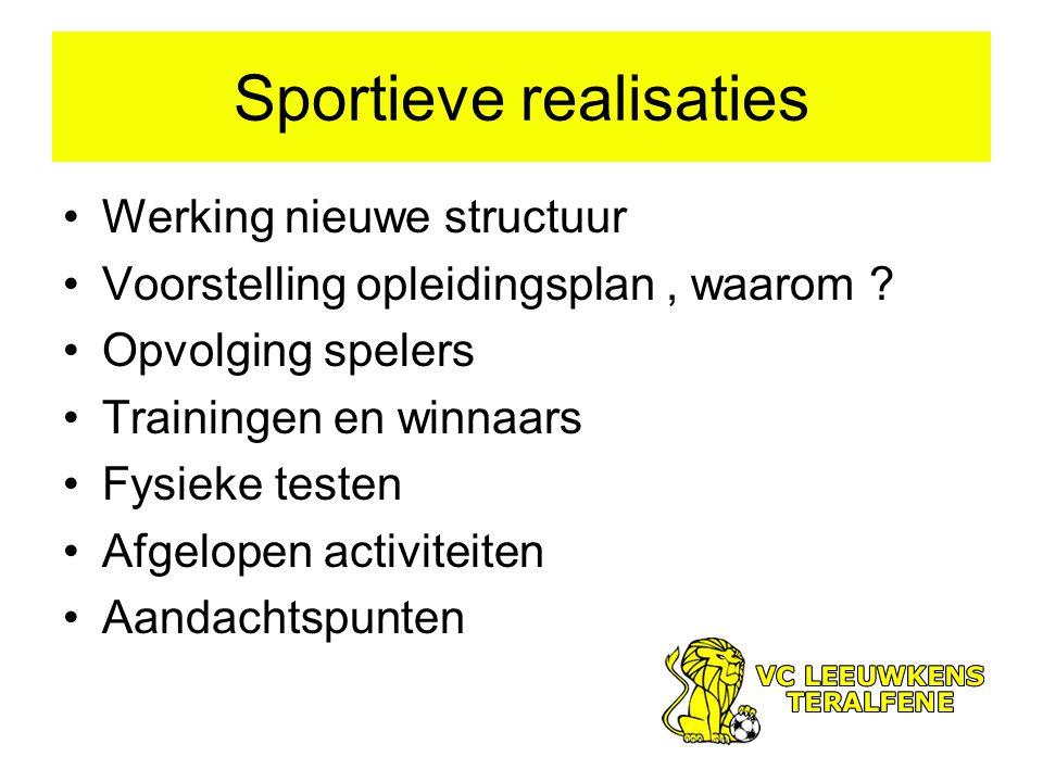 Sportieve realisaties Werking nieuwe structuur Voorstelling opleidingsplan, waarom .