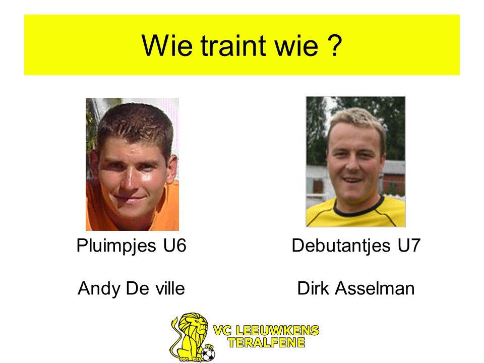 Wie traint wie ? Pluimpjes U6 Andy De ville Debutantjes U7 Dirk Asselman