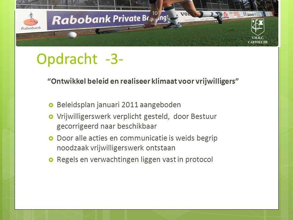 """Opdracht -3- """"Ontwikkel beleid en realiseer klimaat voor vrijwilligers""""  Beleidsplan januari 2011 aangeboden  Vrijwilligerswerk verplicht gesteld, d"""