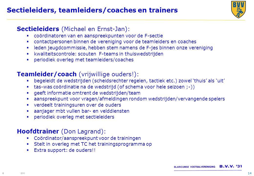 14 © 2010 Sectieleiders, teamleiders/coaches en trainers Sectieleiders (Michael en Ernst-Jan):  coördinatoren van en aanspreekpunten voor de F-sectie