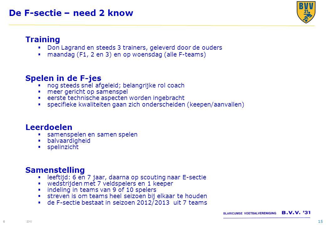 15 © 2010 De F-sectie – need 2 know Training  Don Lagrand en steeds 3 trainers, geleverd door de ouders  maandag (F1, 2 en 3) en op woensdag (alle F