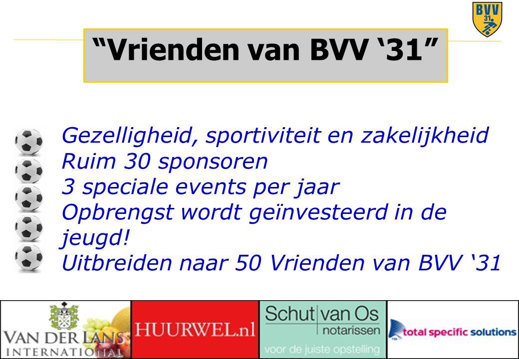 """21 © 2010 """"Vrienden van BVV '31"""" Gezelligheid, sportiviteit en zakelijkheid Ruim 30 sponsoren 3 speciale events per jaar Opbrengst wordt geïnvesteerd"""