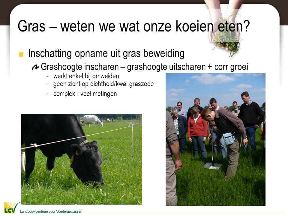 Gras – weten we wat onze koeien eten? Inschatting opname uit gras beweiding Grashoogte inscharen – grashoogte uitscharen + corr groei - werkt enkel bi