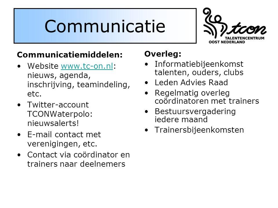 Communicatie Communicatiemiddelen: Website www.tc-on.nl: nieuws, agenda, inschrijving, teamindeling, etc.www.tc-on.nl Twitter-account TCONWaterpolo: nieuwsalerts.