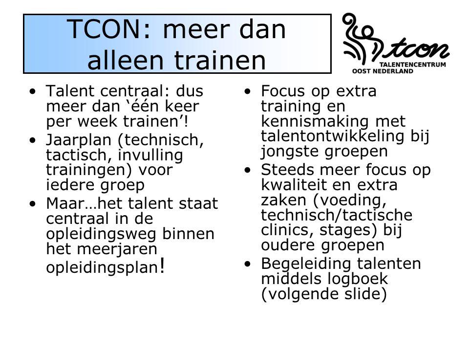 TCON: meer dan alleen trainen Talent centraal: dus meer dan 'één keer per week trainen'! Jaarplan (technisch, tactisch, invulling trainingen) voor ied