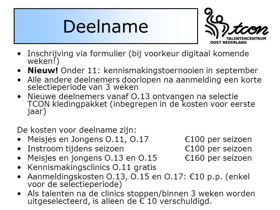 Deelname Inschrijving via formulier (bij voorkeur digitaal komende weken!) Nieuw.
