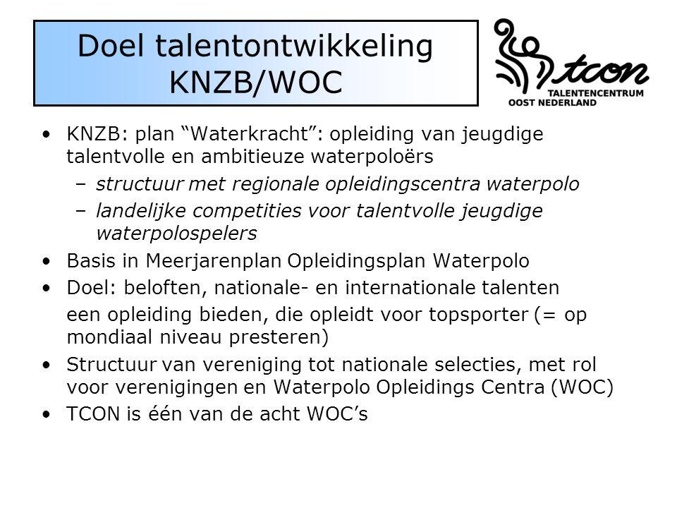 "Doel talentontwikkeling KNZB/WOC KNZB: plan ""Waterkracht"": opleiding van jeugdige talentvolle en ambitieuze waterpoloërs –structuur met regionale ople"