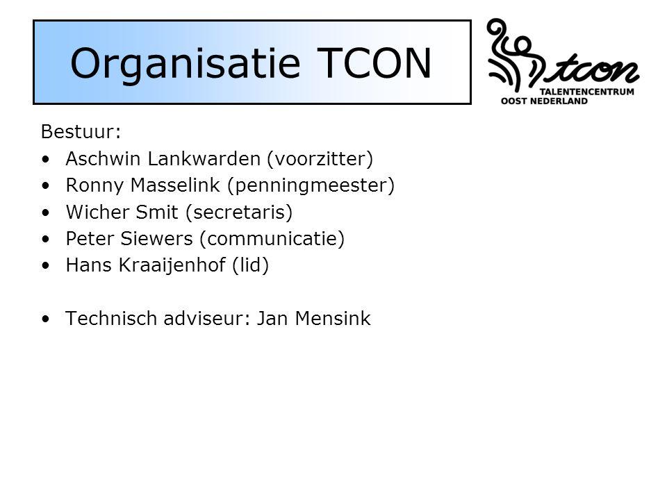 Organisatie TCON Bestuur: Aschwin Lankwarden (voorzitter) Ronny Masselink (penningmeester) Wicher Smit (secretaris) Peter Siewers (communicatie) Hans Kraaijenhof (lid) Technisch adviseur: Jan Mensink