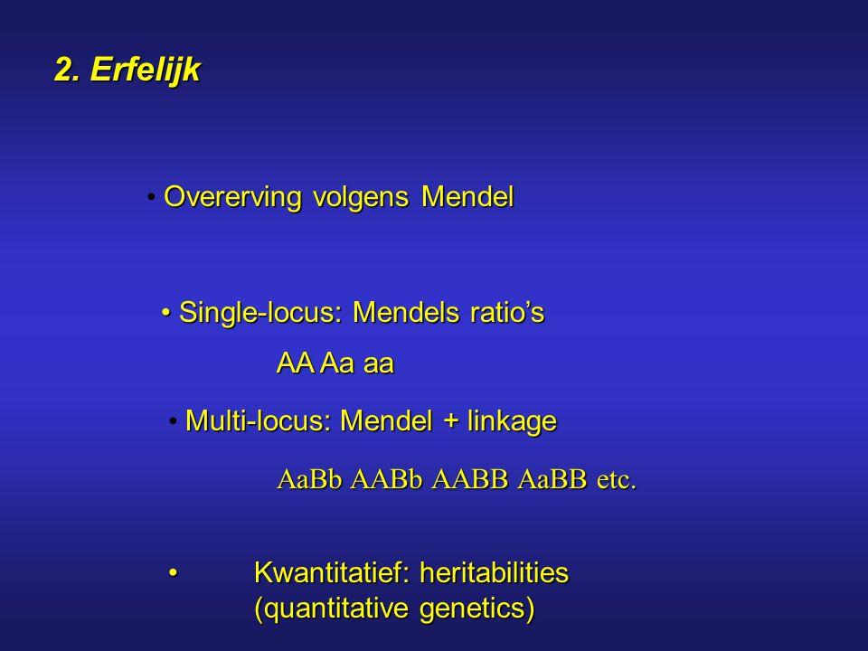 2. Erfelijk Overerving volgens Mendel Kwantitatief: heritabilities (quantitative genetics)Kwantitatief: heritabilities (quantitative genetics) Single-