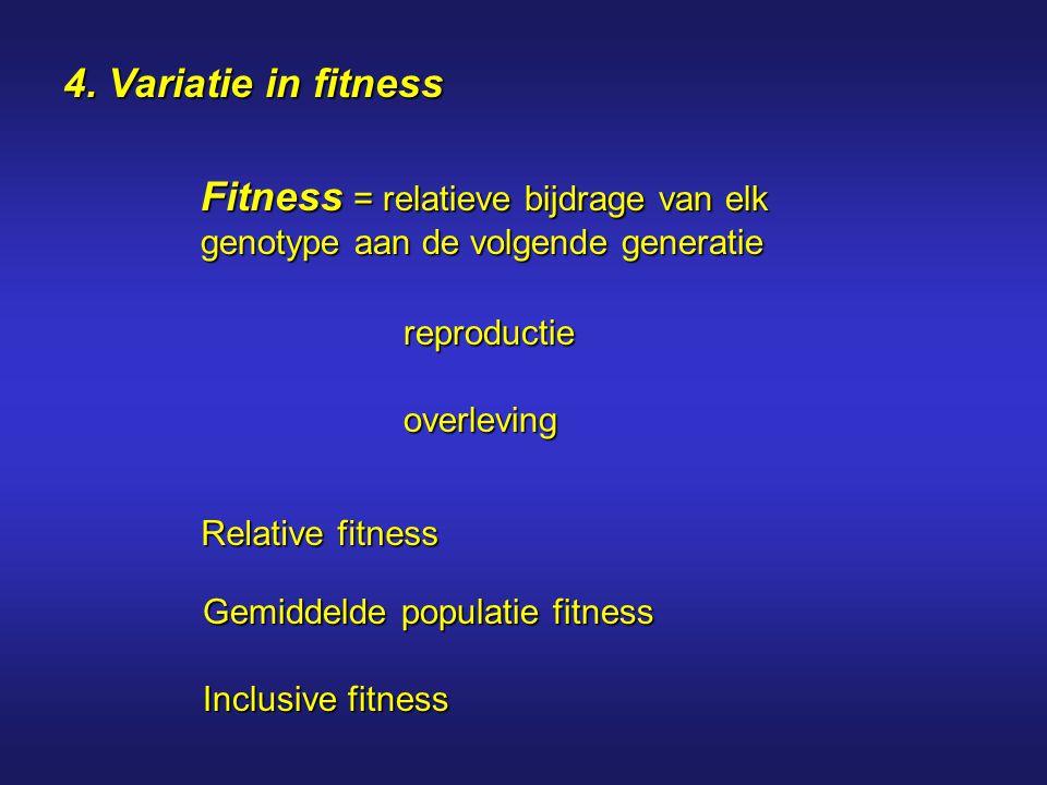 4. Variatie in fitness Fitness = relatieve bijdrage van elk genotype aan de volgende generatie reproductie overleving Relative fitness Gemiddelde popu