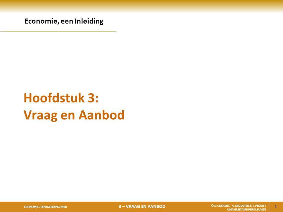 1 ECONOMIE, EEN INLEIDING 2010 3 – VRAAG EN AANBOD © S. COSAERT, A. DECOSTER & T. PROOST UNIVERSITAIRE PERS LEUVEN Hoofdstuk 3: Vraag en Aanbod Econom