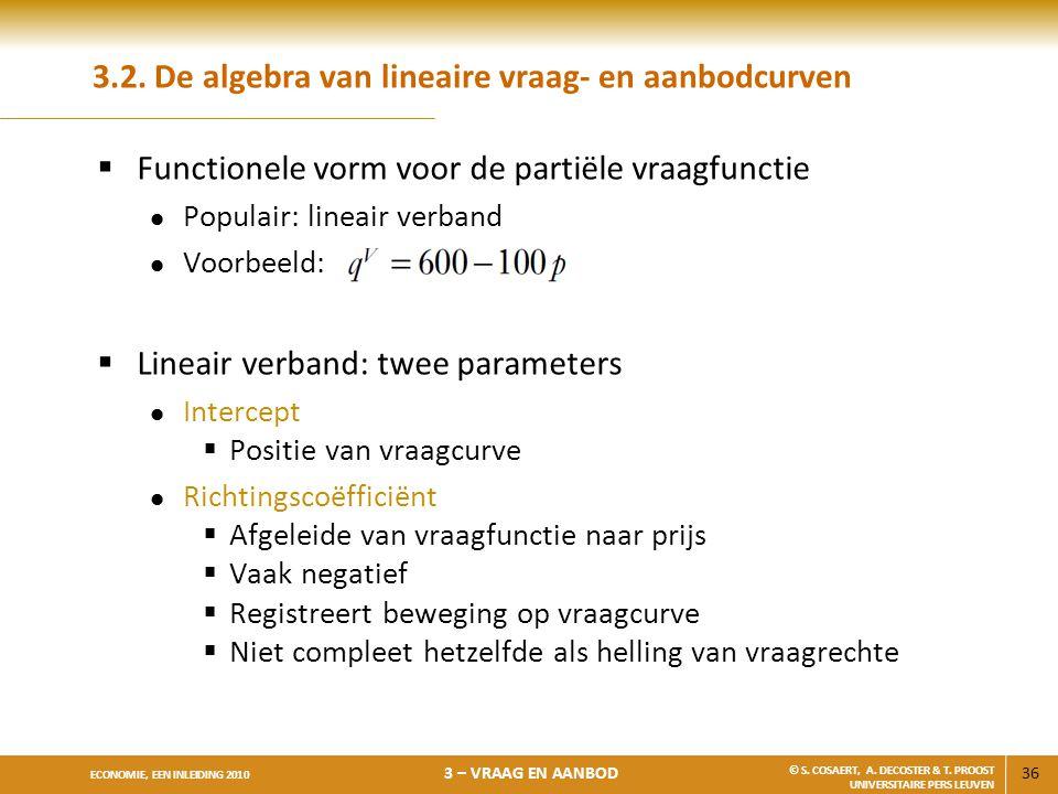 36 ECONOMIE, EEN INLEIDING 2010 3 – VRAAG EN AANBOD © S. COSAERT, A. DECOSTER & T. PROOST UNIVERSITAIRE PERS LEUVEN 3.2. De algebra van lineaire vraag