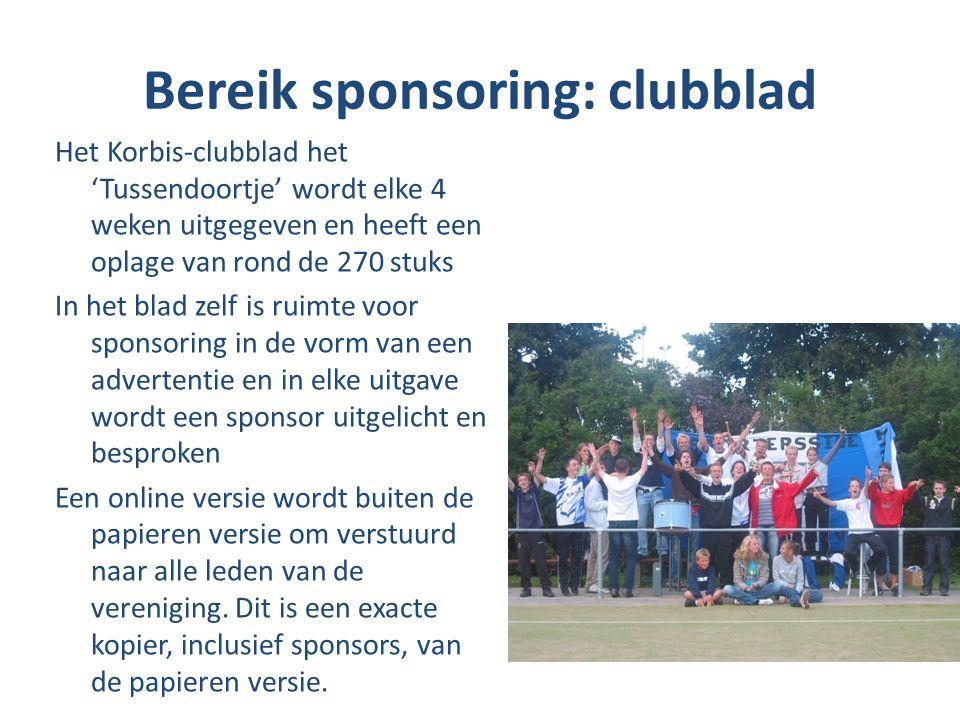 Bereik sponsoring: clubblad Het Korbis-clubblad het 'Tussendoortje' wordt elke 4 weken uitgegeven en heeft een oplage van rond de 270 stuks In het bla