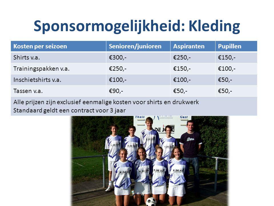 Sponsormogelijkheid: Kleding Kosten per seizoenSenioren/juniorenAspirantenPupillen Shirts v.a.€300,-€250,-€150,- Trainingspakken v.a.€250,-€150,-€100,