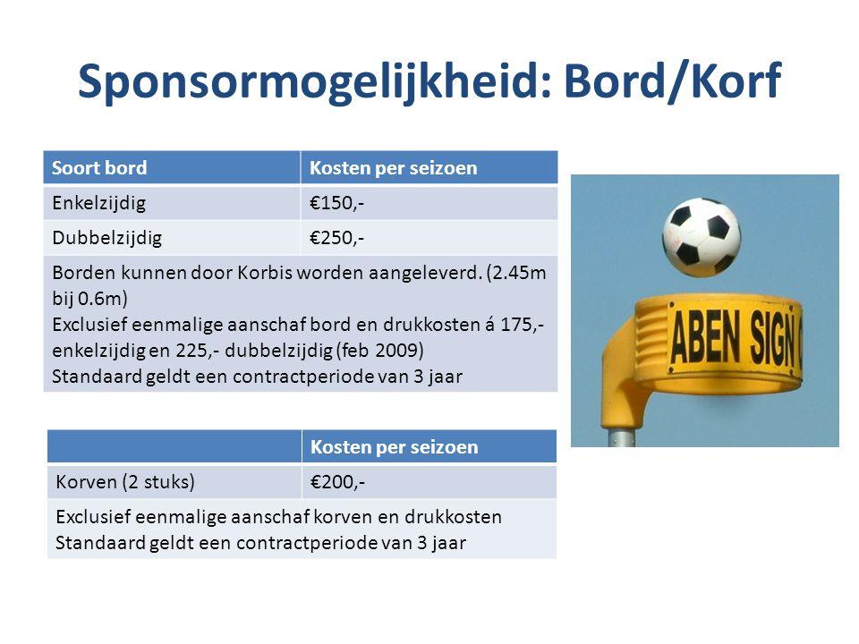 Sponsormogelijkheid: Bord/Korf Soort bordKosten per seizoen Enkelzijdig€150,- Dubbelzijdig€250,- Borden kunnen door Korbis worden aangeleverd. (2.45m