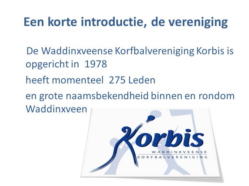 Een korte introductie, de vereniging De Waddinxveense Korfbalvereniging Korbis is opgericht in 1978 heeft momenteel 275 Leden en grote naamsbekendheid