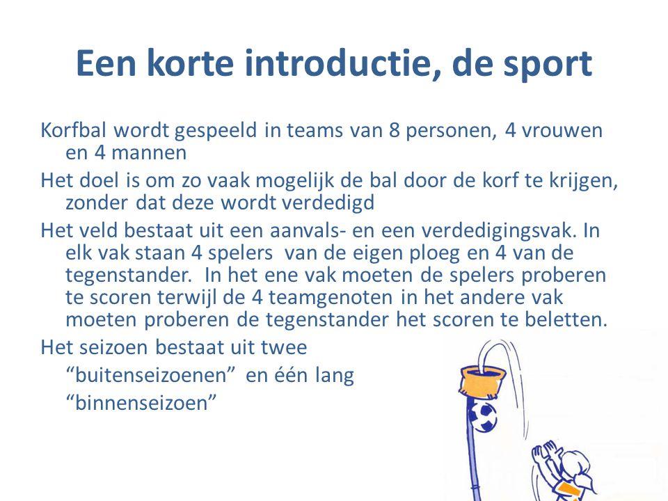 Een korte introductie, de sport Korfbal wordt gespeeld in teams van 8 personen, 4 vrouwen en 4 mannen Het doel is om zo vaak mogelijk de bal door de k