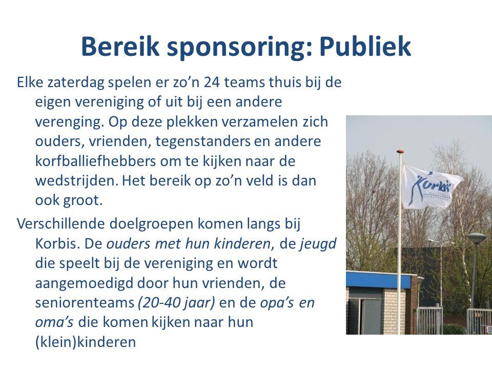 Bereik sponsoring: Publiek Elke zaterdag spelen er zo'n 24 teams thuis bij de eigen vereniging of uit bij een andere verenging. Op deze plekken verzam