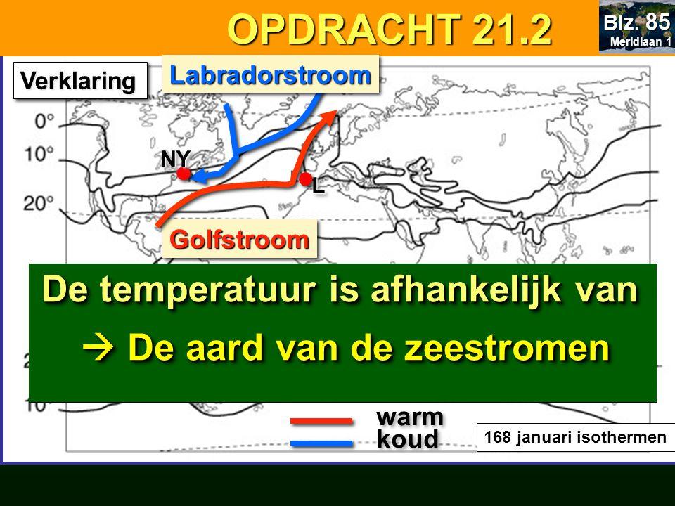 OPDRACHT 21.2 OPDRACHT 21.2 168 januari isothermen koud GolfstroomGolfstroom warm VerklaringVerklaring LabradorstroomLabradorstroom NYNY LL Verklaring