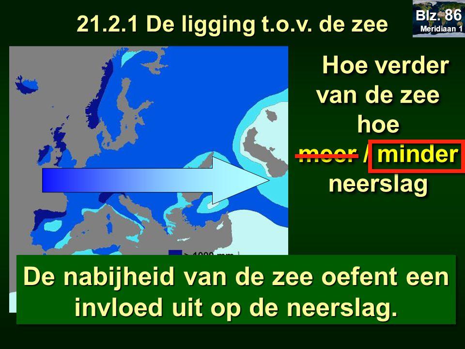 22.2 De neerslag 21.2.1 De ligging t.o.v. de zee Hoe verder van de zee hoe Hoe verder van de zee hoe meer / minder neerslag Hoe verder van de zee hoe