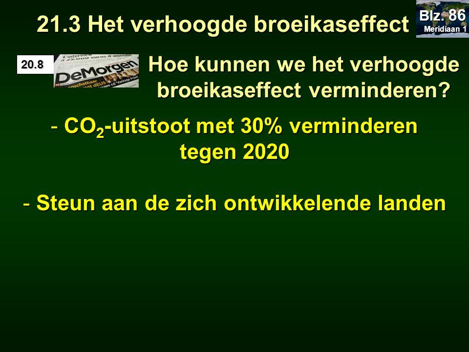 Hoe kunnen we het verhoogde broeikaseffect verminderen? - CO 2 -uitstoot met 30% verminderen tegen 2020 - Steun aan de zich ontwikkelende landen 21.3