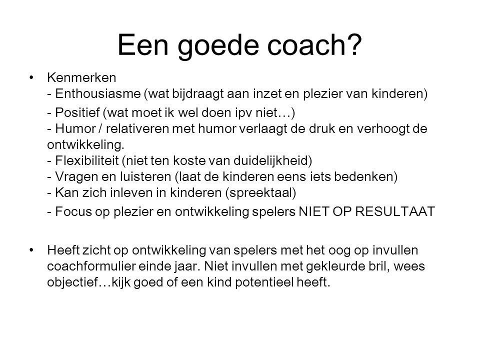 Coachen algemeen Per team 2 coaches (afwisselend: 1 actief /1 voor wissel) wees duidelijk richting de kinderen tav taakverdeling Zorgen dat team met m