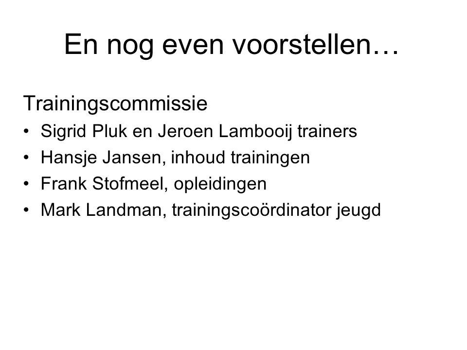 Even voorstellen… Minicommissie: Meisjeslijn, Ilse de Bruijne, Angela van den Dungen, Yolanda Plekenpol, Ine von Berg en Edith de Vos Trainingsmini's/