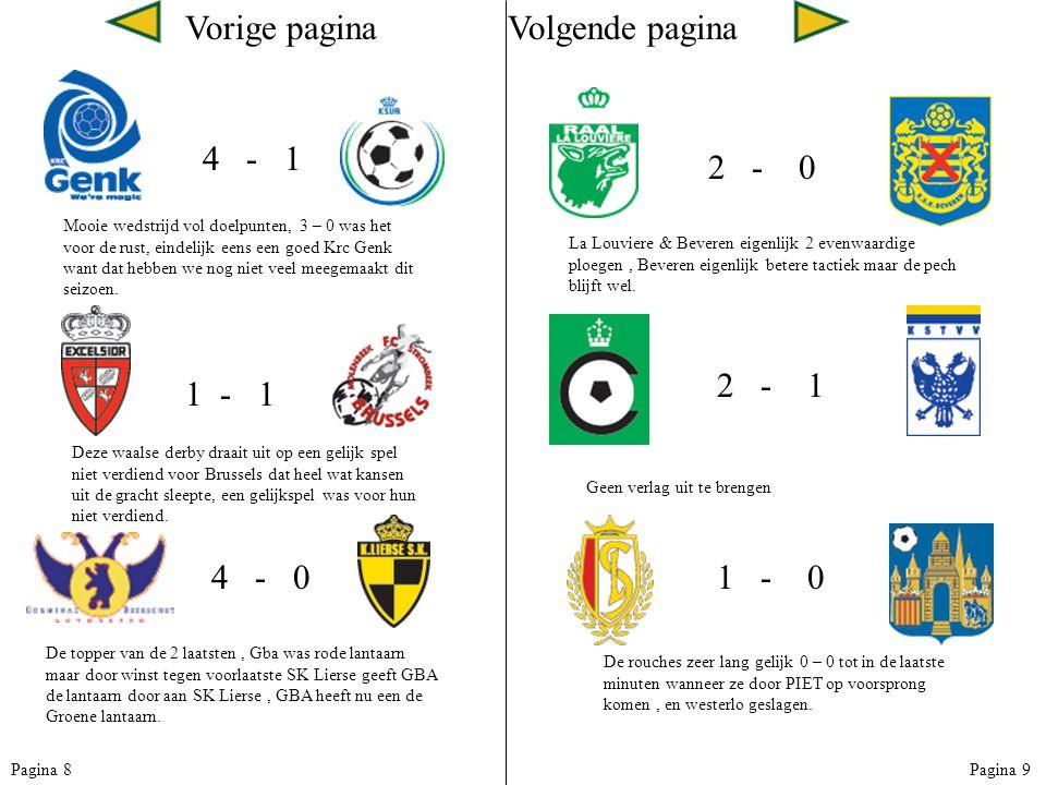 Vorige paginaVolgende pagina 4 - 1 Mooie wedstrijd vol doelpunten, 3 – 0 was het voor de rust, eindelijk eens een goed Krc Genk want dat hebben we nog niet veel meegemaakt dit seizoen.