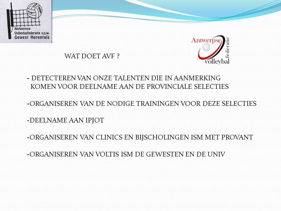 HUIDIGE JEUGDWERKING GEWEST - Opdrachten vanuit AVF naar de gewesten -Organisatie 2-2 en 3-3 competitie - jaarlijkse jeugddag (vis) - medewerking aan de voltis testen WAT MISSEN WE HIER ??.