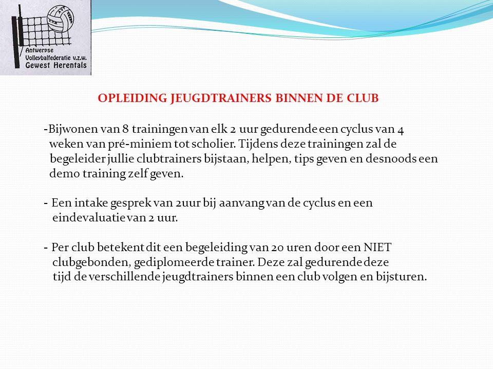OPLEIDING JEUGDTRAINERS BINNEN DE CLUB -Bijwonen van 8 trainingen van elk 2 uur gedurende een cyclus van 4 weken van pré-miniem tot scholier.