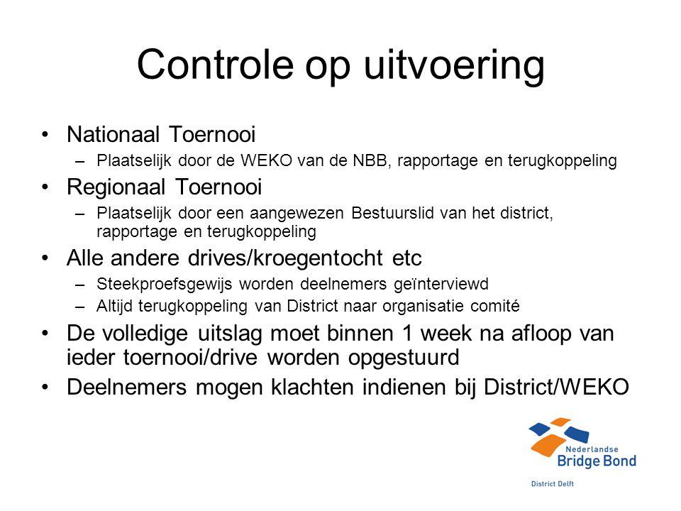 Controle op uitvoering Nationaal Toernooi –Plaatselijk door de WEKO van de NBB, rapportage en terugkoppeling Regionaal Toernooi –Plaatselijk door een