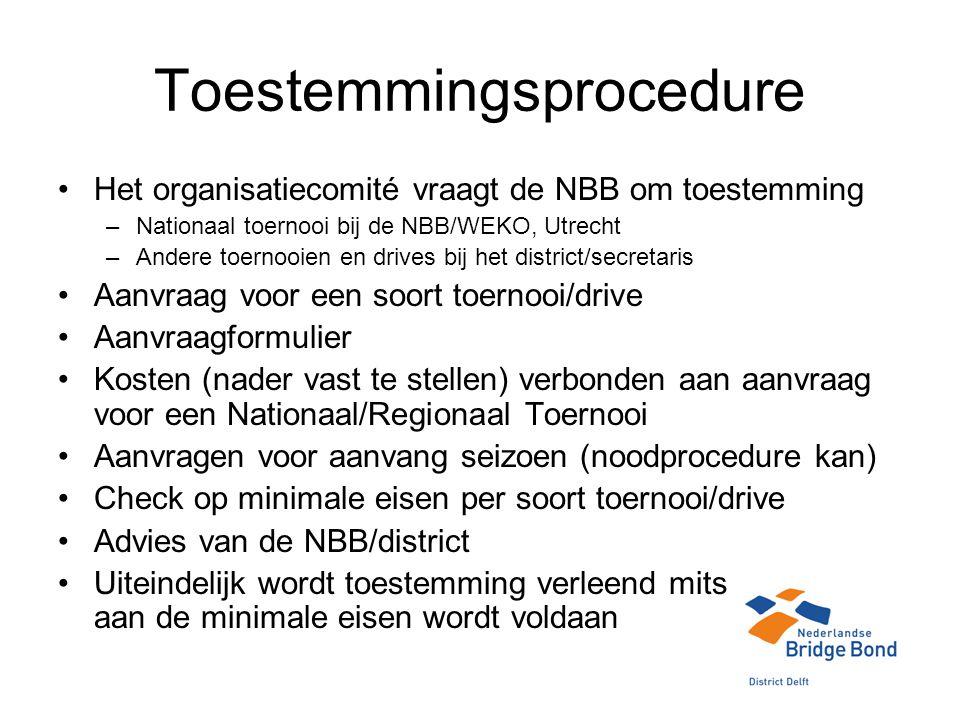 Toestemmingsprocedure Het organisatiecomité vraagt de NBB om toestemming –Nationaal toernooi bij de NBB/WEKO, Utrecht –Andere toernooien en drives bij