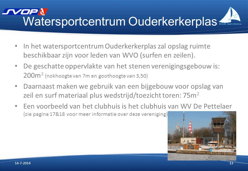 Watersportcentrum Ouderkerkerplas In het watersportcentrum Ouderkerkerplas zal opslag ruimte beschikbaar zijn voor leden van WVO (surfen en zeilen). D