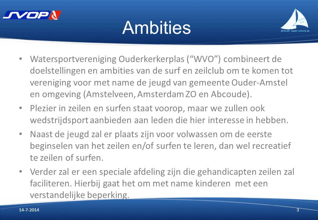 Ambities Watersportvereniging Ouderkerkerplas ( WVO ) combineert de doelstellingen en ambities van de surf en zeilclub om te komen tot vereniging voor met name de jeugd van gemeente Ouder-Amstel en omgeving (Amstelveen, Amsterdam ZO en Abcoude).