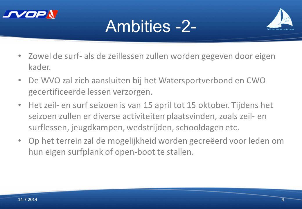 Ambities -2- Zowel de surf- als de zeillessen zullen worden gegeven door eigen kader. De WVO zal zich aansluiten bij het Watersportverbond en CWO gece