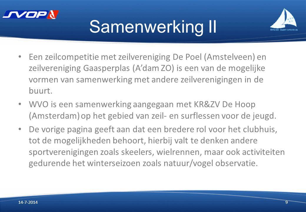 Samenwerking II Een zeilcompetitie met zeilvereniging De Poel (Amstelveen) en zeilvereniging Gaasperplas (A'dam ZO) is een van de mogelijke vormen van samenwerking met andere zeilverenigingen in de buurt.