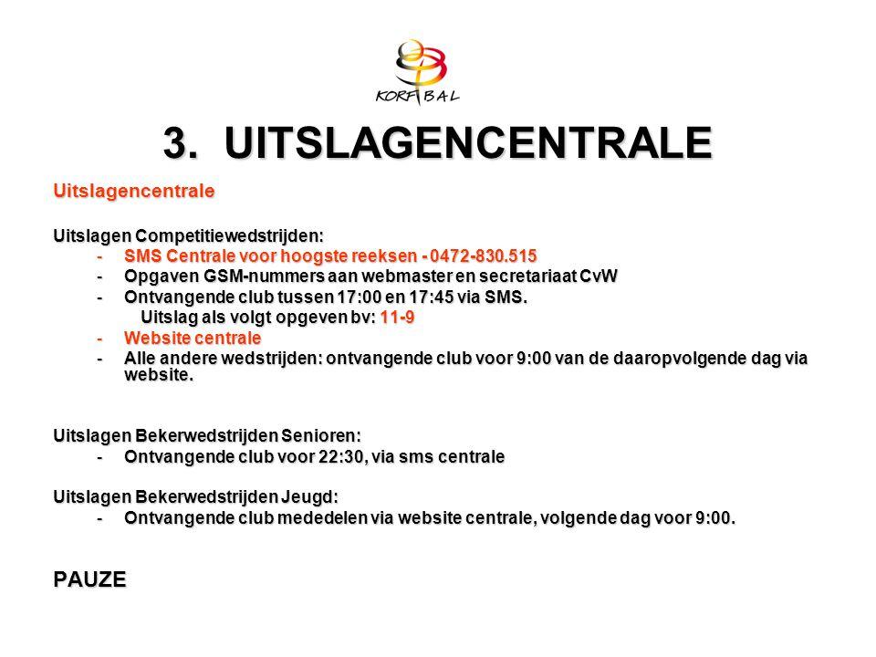 3. UITSLAGENCENTRALE Uitslagencentrale Uitslagen Competitiewedstrijden: -SMS Centrale voor hoogste reeksen - 0472-830.515 -Opgaven GSM-nummers aan web