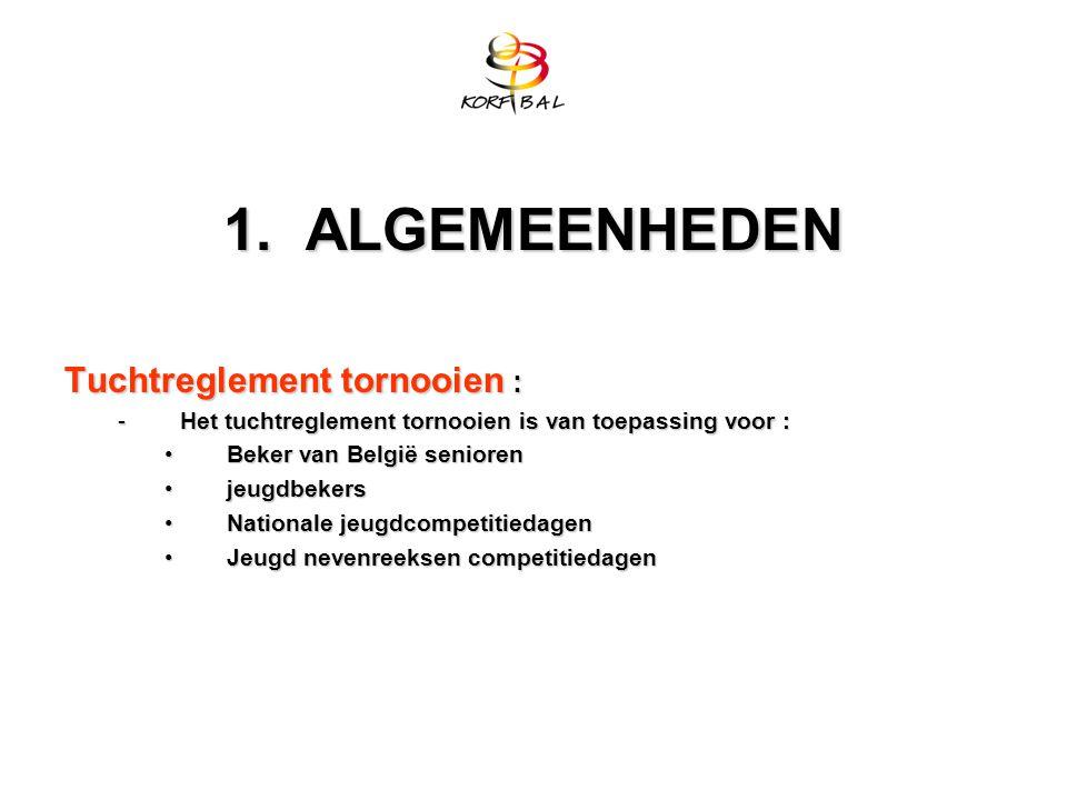 1. ALGEMEENHEDEN Tuchtreglement tornooien : -Het tuchtreglement tornooien is van toepassing voor : Beker van België seniorenBeker van België senioren