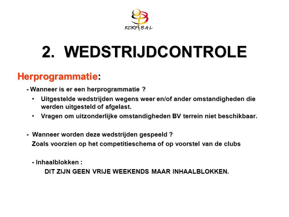 2. WEDSTRIJDCONTROLE Herprogrammatie: - Wanneer is er een herprogrammatie .