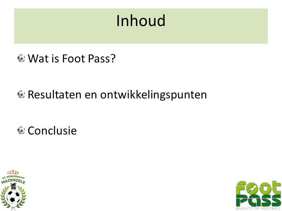 Inhoud Wat is Foot Pass? Resultaten en ontwikkelingspunten Conclusie